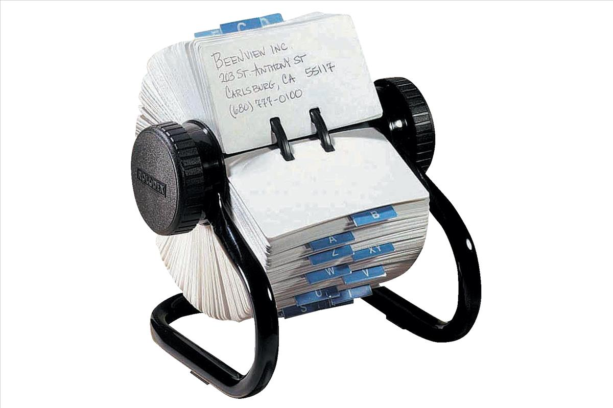 Image for Rolodex Classic 500 Rotary File Metal Open with 500 57x102mm Cards 178x159x133mm Black Ref 66704