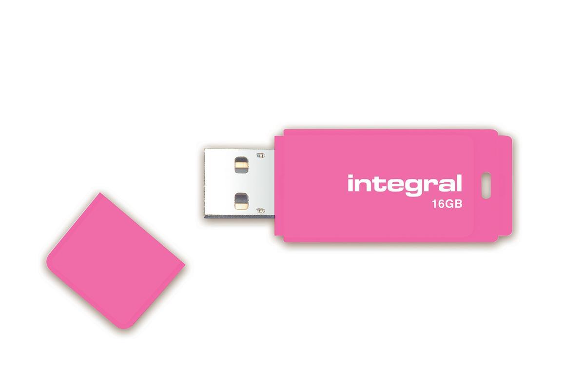 Integral Neon USB Drive 2.0 Capacity 16GB Pink Ref INFD16GBNEONPK