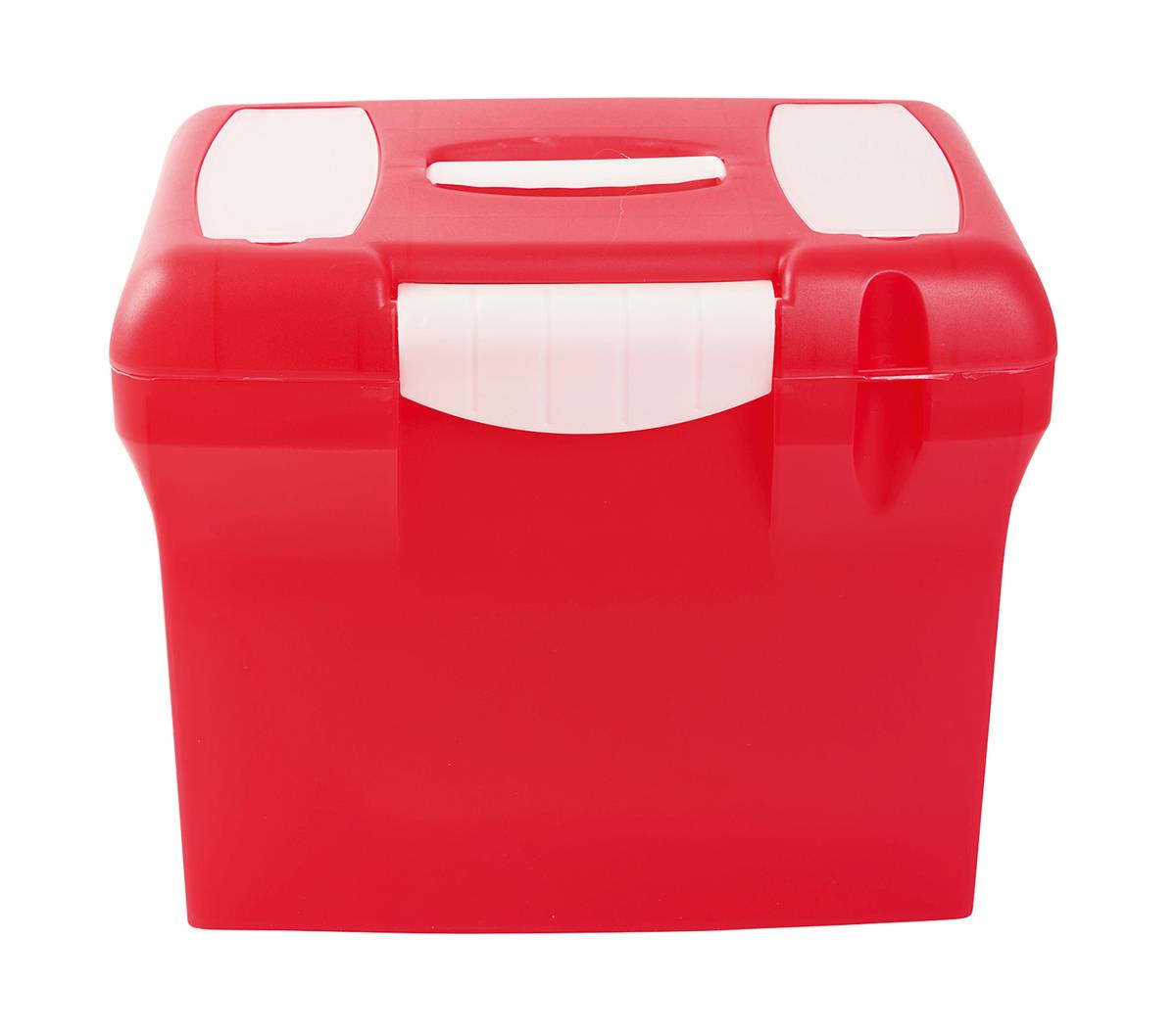 File Box with Suspension Files and Index Tabs Plastic A4 Red