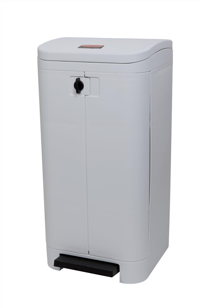 Rubbermaid Step On Best Waste Bin Front Opening Large Pedal Rubber Wheels 100 Litres White Ref WHT 6151