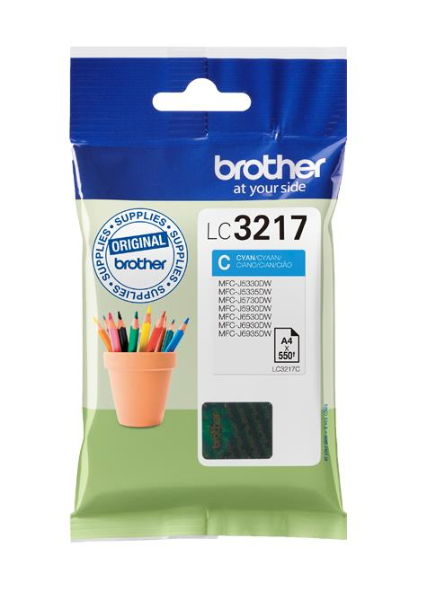 Brother Inkjet Cartridge Page Life 550pp Cyan Ref LC3217C