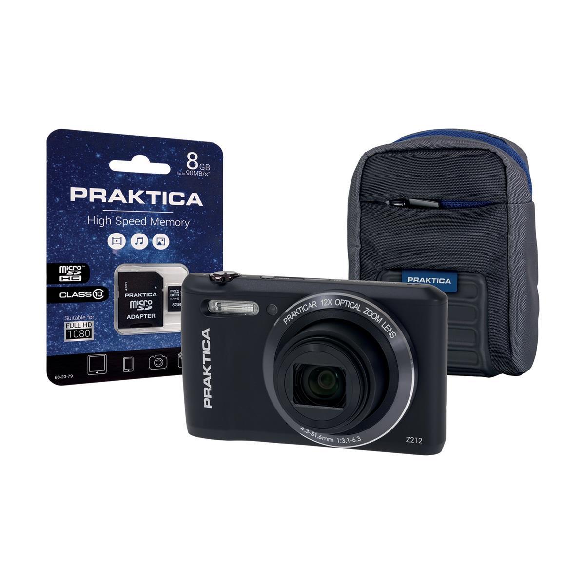 Praktica Z212 Digital Camera Kit Wide 12x Optical Zoom Lens 20MP Black Ref Z212-BK 8GBCASE