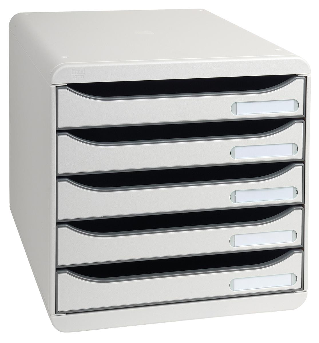 Image for Exacompta Big Box Plus Drawer Set Plastic 5 Drawers each H43mm A4plus Light Grey Ref 309740D