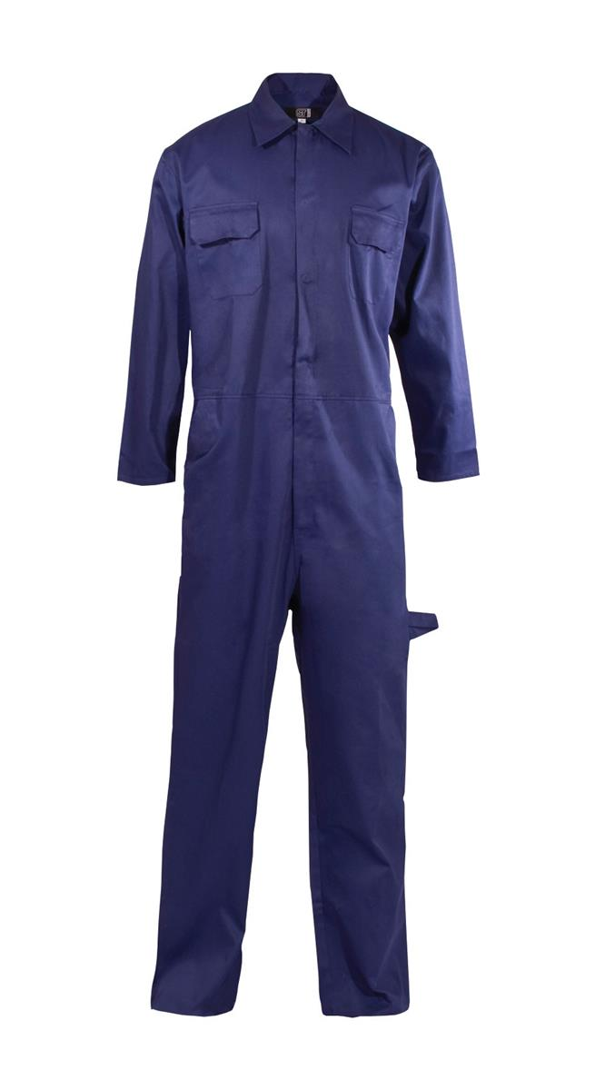 ST Coverall Basic with Popper Front Opening PolyCotton Large Navy Ref 51903 *Approx 3 Day Leadtime*