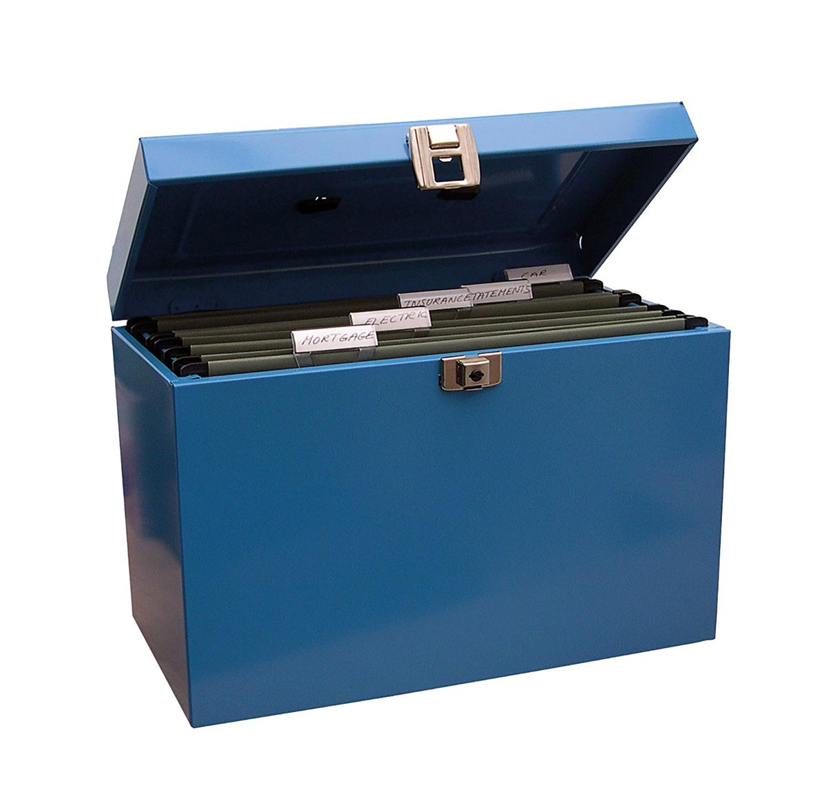 File Box with 5 Suspension Files and 2 Keys Steel A4 Blue