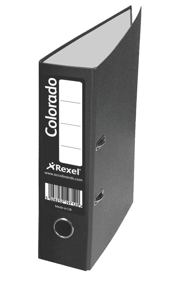 Rexel Colorado Lever Arch File Plastic 80mm Spine Foolscap Black Ref 28115EAST [Pack 10]