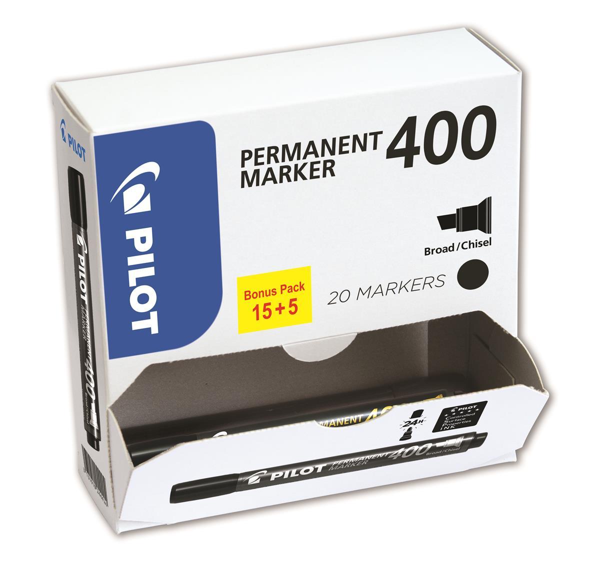 Pilot 400 Permanent Marker Chisel Tip Line 1.5-4.0mm Blue Ref 3131910504078 [Pack 15&5 Free]