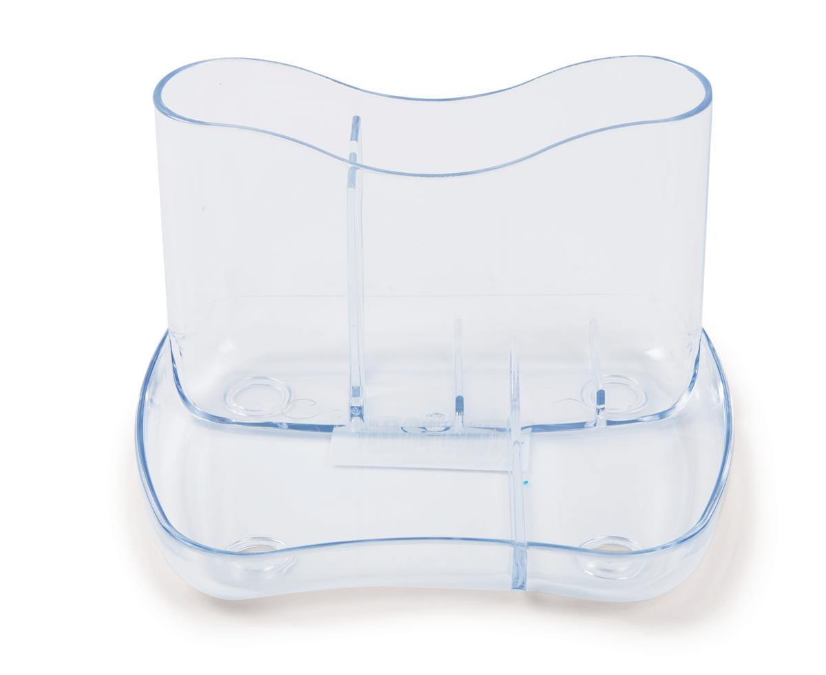 Desk Organiser 4 Compartments 93mm High Crystal Clear