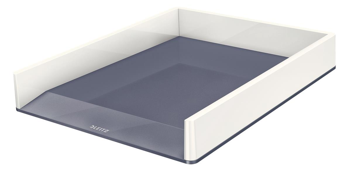 Leitz WOW Letter Tray Duo Large Opening Vertical Stacking A4/C4/Folio/Letter White/Grey Ref 53611001