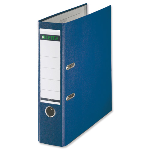 Leitz Lever Arch File Plastic 80mm Spine Foolscap Blue Ref 11101135 [Pack 10]