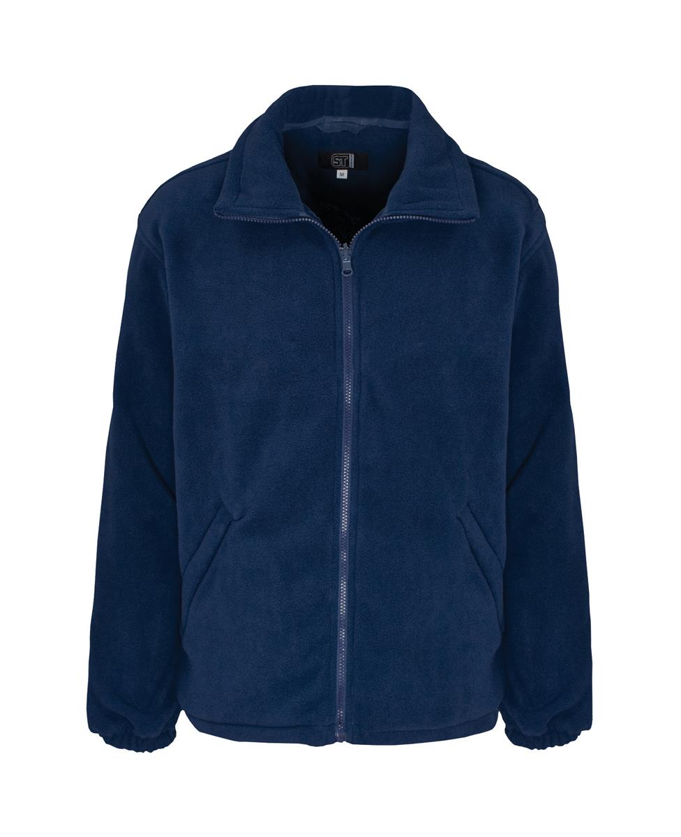 Classic Fleece Jacket Elasticated Cuffs Full Zip Front Small Navy Blue Ref FLJNS *1-3 Days Lead Time*