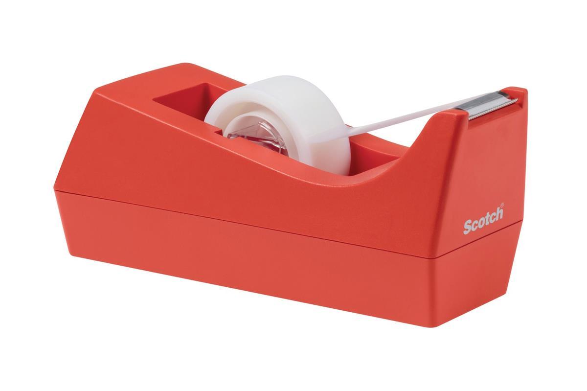 Scotch Weighted Tape Dispenser C38 Orange Plus 1 x Magic Tape 19mmx8.89m Ref C38-O-EU
