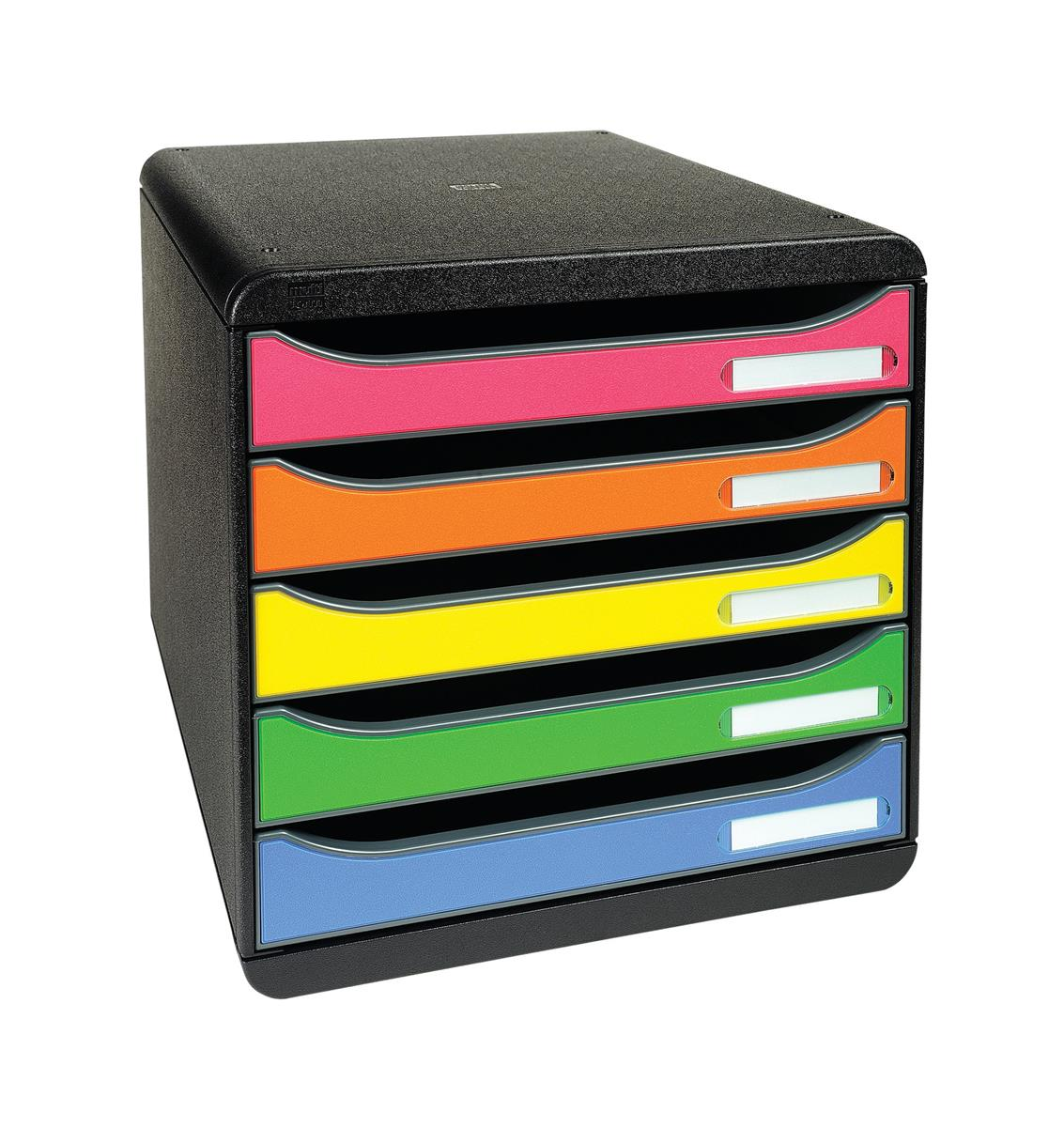 Exacompta Big Box Plus 5-Drawer Storage Set Stackable Label Holders A4plus Harlequin Ref 309798D