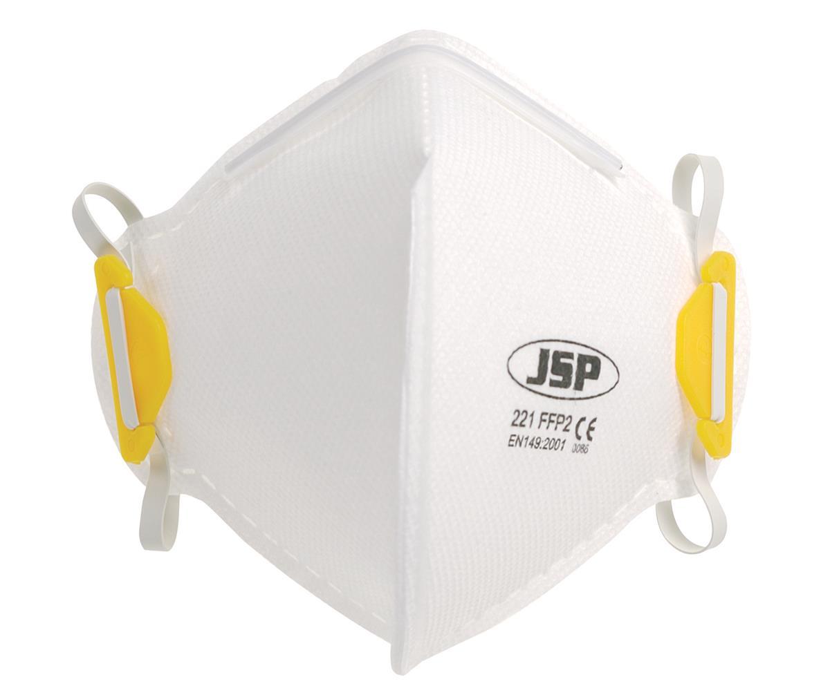 JSP Disposable Mask Fold-flat FFP2 Class 2 EN149:2001 & A1:2009 Standard Ref BEA120-101-000 [Pack 10]