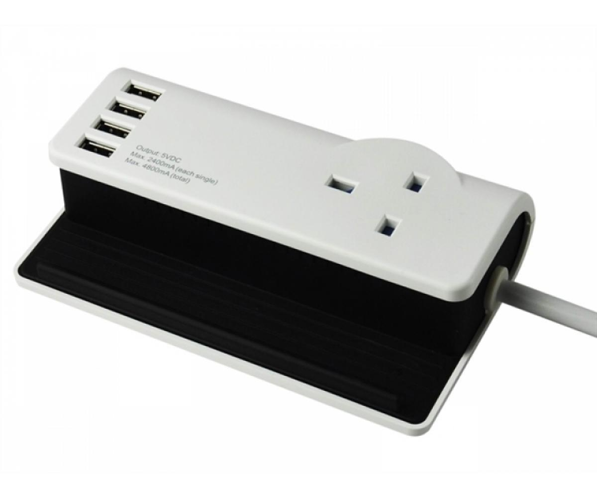 SMJ Desktop Charging Station 1 UK Mains Socket 4 USB Charging Points W159xD90xH50mm White