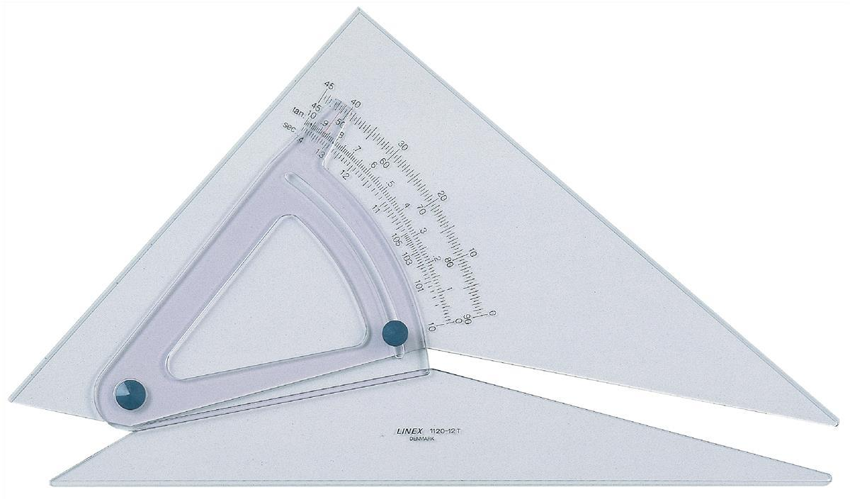 Linex Set Square Adjustable Precision 0.5 Degree Scale Bevelled Edge Long 300mm Clear Ref LXB1120/12B