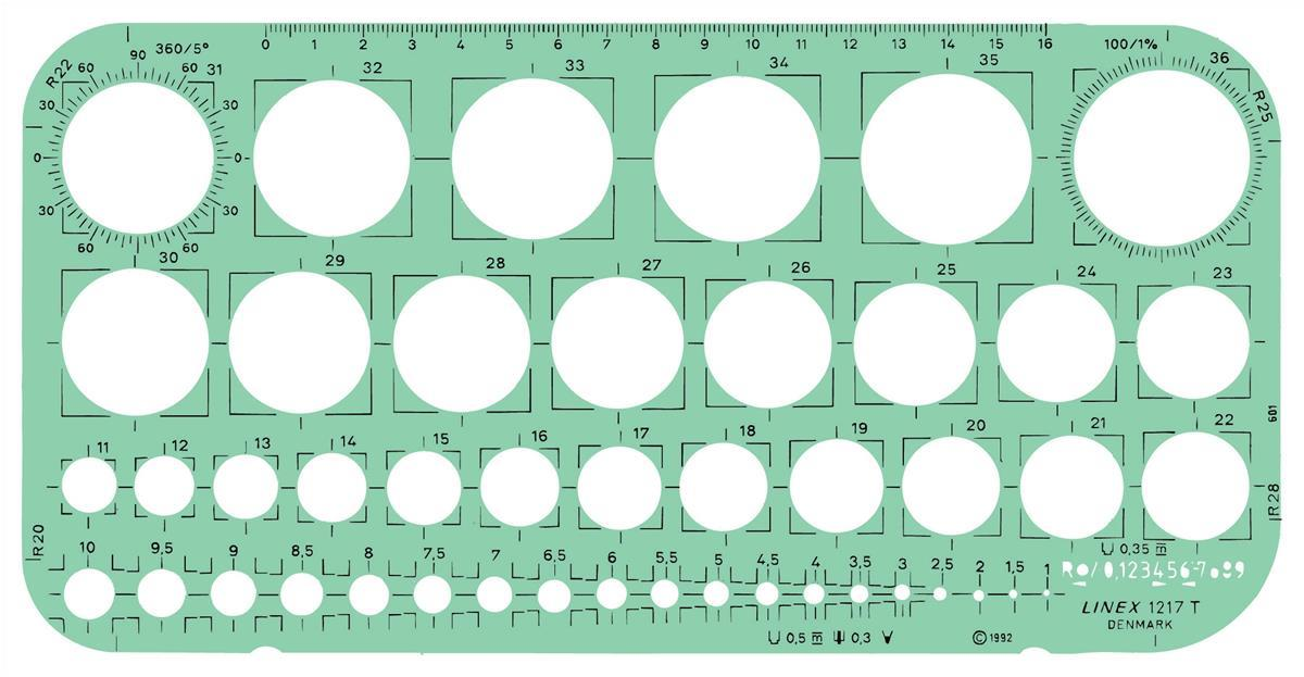 Linex Circle Template with Tangential Squares Protractor and 45 1mm-36mm Circles 260x130mm Ref LXG1217T