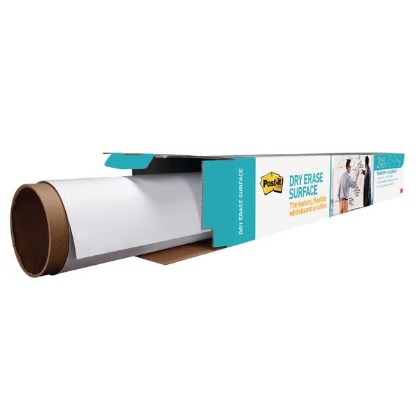 Post-it Dry Erase Film Roll for Boards and Walls Stain-proof 1220x2400mm White Ref DEF8x4-EU