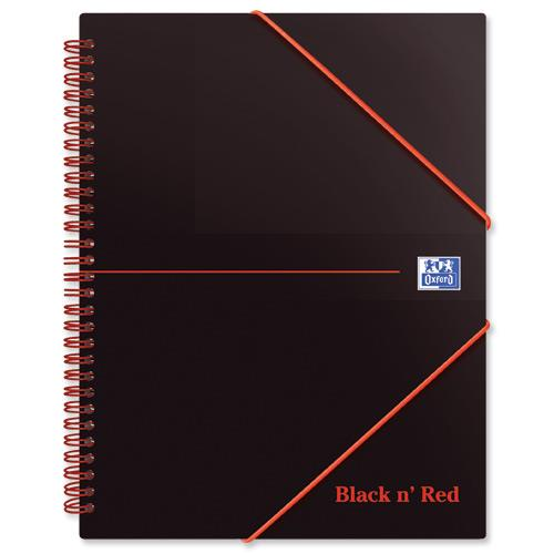 Black n Red Meeting Book Plastic Wirebound Rear Elasticated 3-Flap Folder A5plus Ref 100100893 [Pack 5]