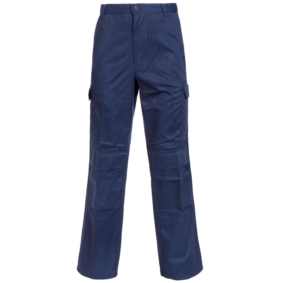 Combat Trousers Polycotton with Pockets 34in Long Navy Blue Ref PCTHWN34T *1-3 Days Lead Time*