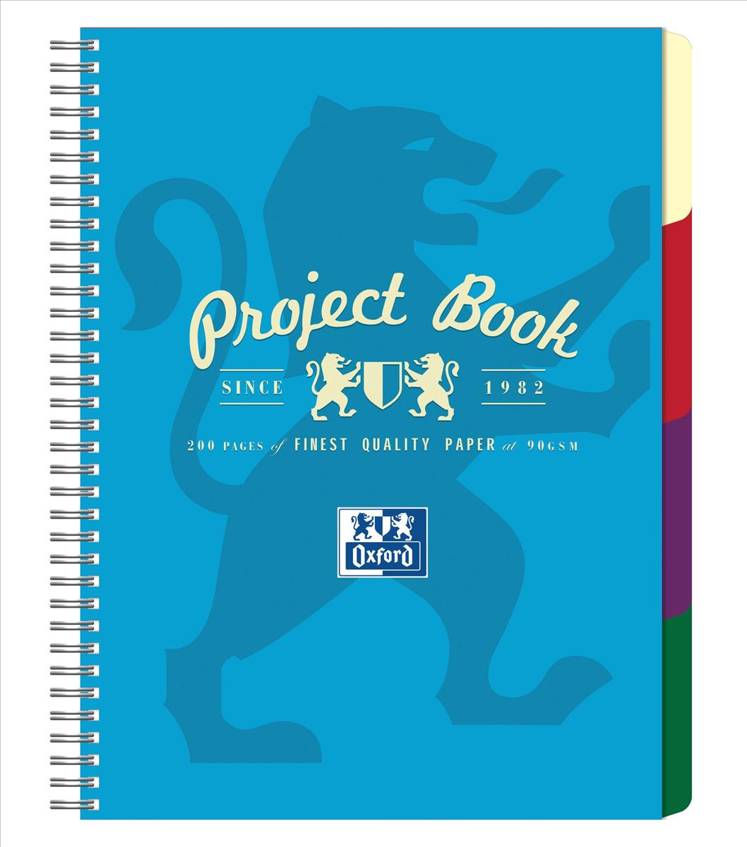 Oxford Campus Project Book Twinwire Ruled with Margin 90gsm 200pp A4 Assorted Ref 400015503 [Pack 5]