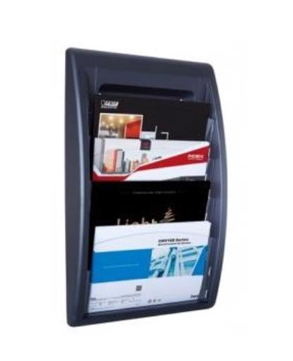 Fast Paper Quick Fit Wall Display 4 Pockets A4 Landscape Black Ref F406001