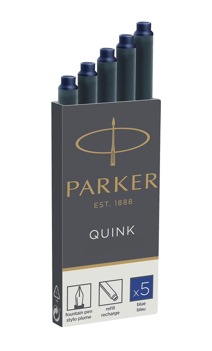 Parker Quink Cartridges Classic Ink Refills Standard Blue Ink Ref 1950384 [Packed 20x5]