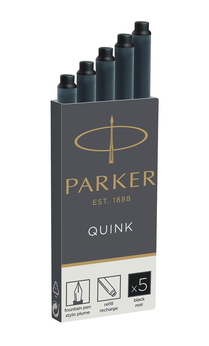 Parker Quink Cartridges Classic Ink Refills Standard Black Ink Ref 1950382 [Packed 20x5]