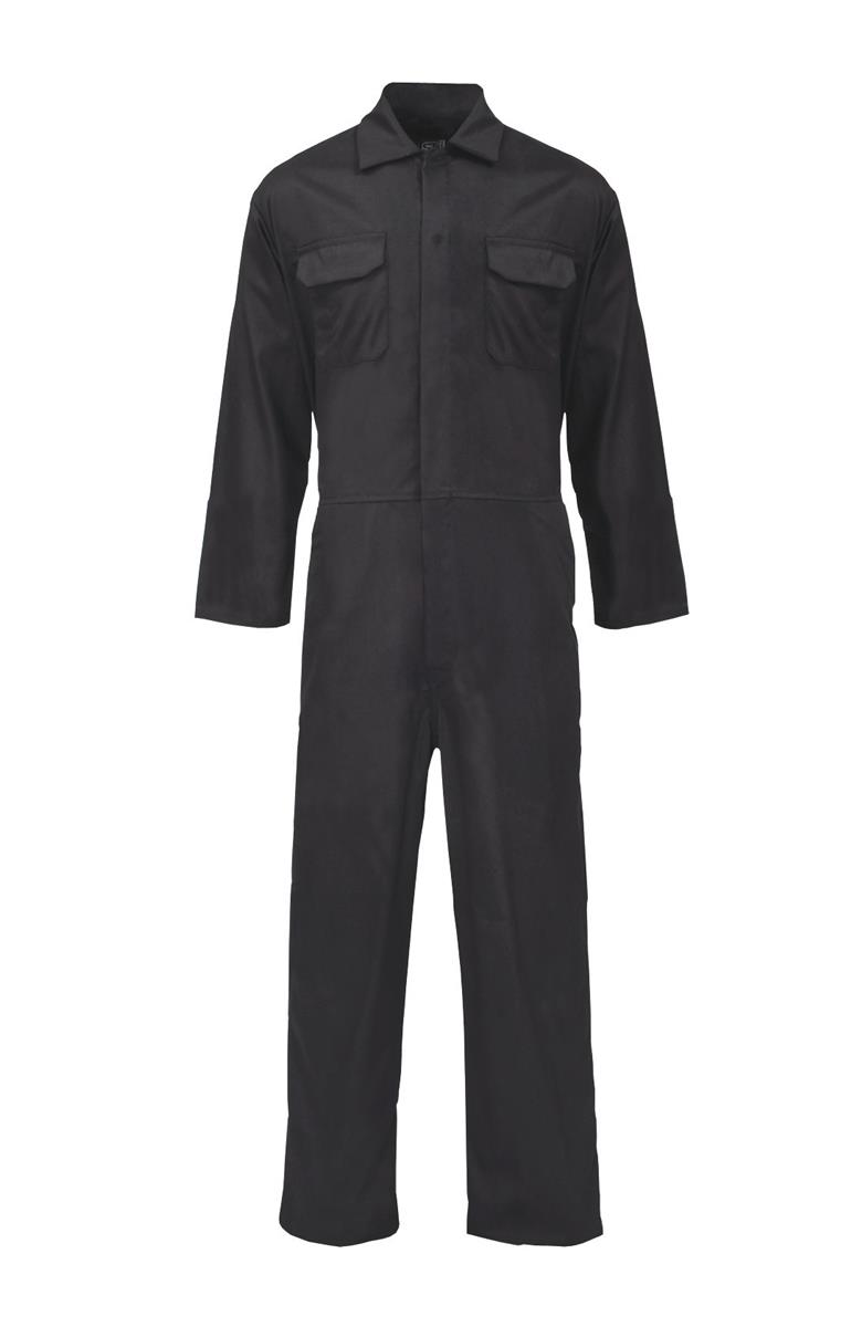 ST Coverall Basic with Popper Front Opening PolyCotton Large Black Ref 51703 *Approx 3 Day Leadtime*