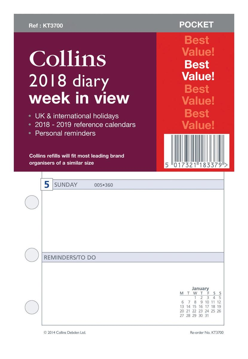 Collins 2018 Pocket Diary Refill Week to View Ref KT3700-18