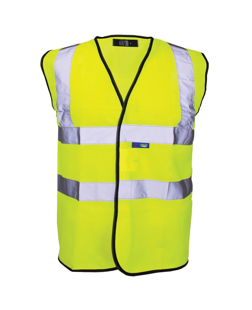 Supertouch High Visibility Vest with Black Binding Large Yellow Ref 35243 *Approx 3 Day Leadtime*