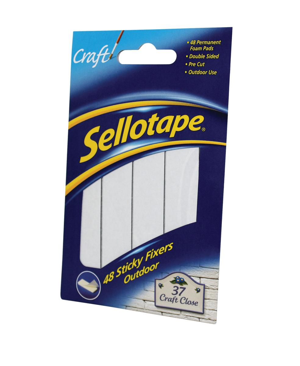Sellotape Sticky Fixers Outdoor Double-sided Weather-resistant 20x20mm 48 Pads Ref 1445421 [Pack 12]