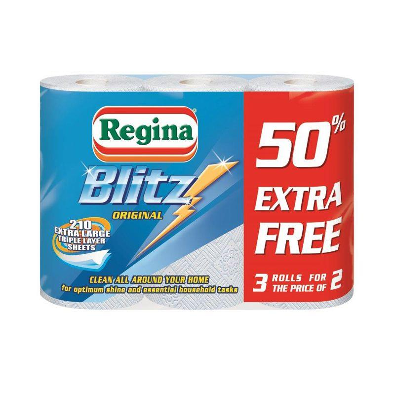 Regina Blitz Kitchen Towel No Smears Recycled Pure Pulp 70 Sheets per Roll White Ref 1105180 [Pack 2]