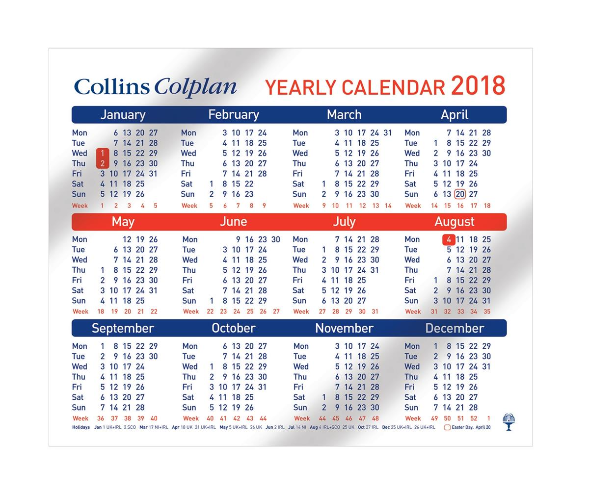 Collins Colplan Yearly Calendar 210 x 260mm Ref CDS1 2018
