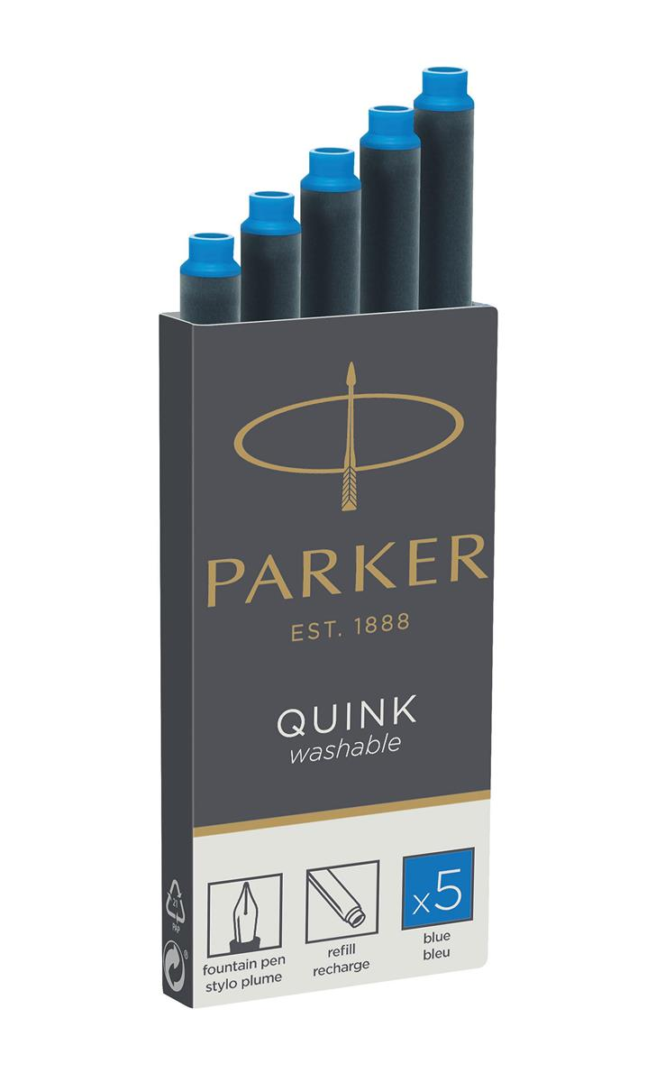 Parker Quink Cartridges Classic Ink Refills Standard Washable Blue Ref 1950383 [Packed 20x5]