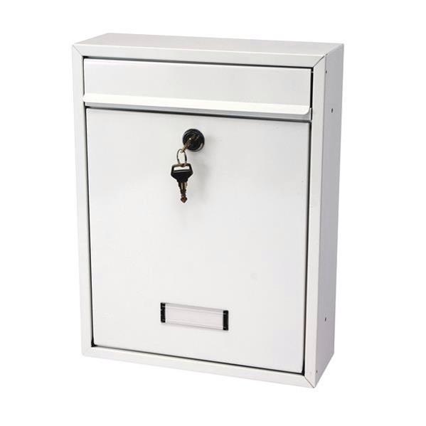 G2 Trent Wall Post Box Mounted Steel 2 Keys Fixing Kit A4 Slot W274xD110xH356mm White