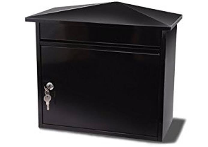 G2 Mersey Post Box Wall Mounted Steel 2 Keys Fixing Kit A4 Slot W410xD230xH368mm Black