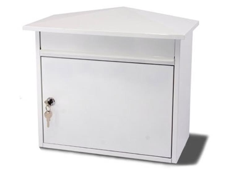 G2 Mersey Post Box Wall Mounted Steel 2 Keys Fixing Kit A4 Slot W410xD230xH368mm White
