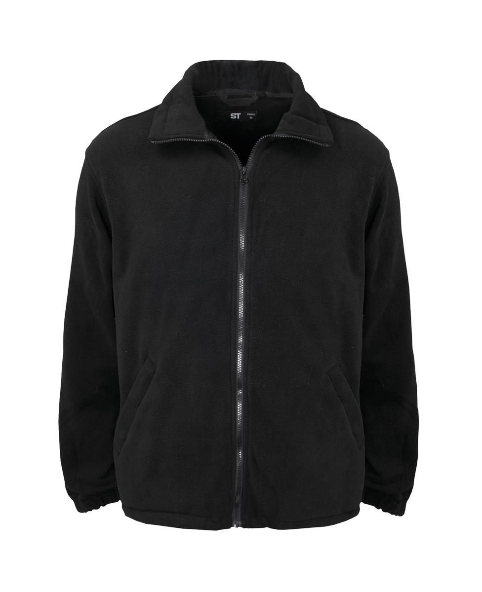 Classic Fleece Jacket Elasticated Cuffs Full Zip Front Small Black Ref FLJBLS *1-3 Days Lead Time*