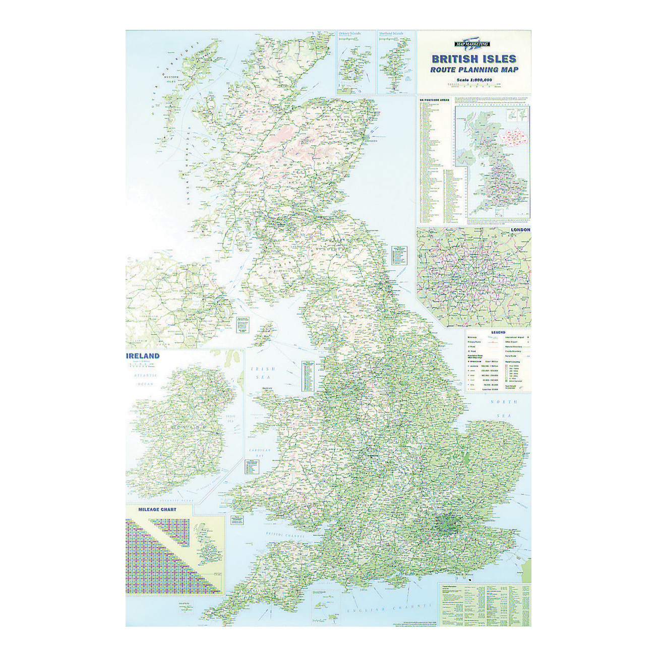 Wall Maps Map Marketing British Isles Motoring Map Unframed 12.5 Miles to 1 inch Scale W830xH1200mm Ref BIM