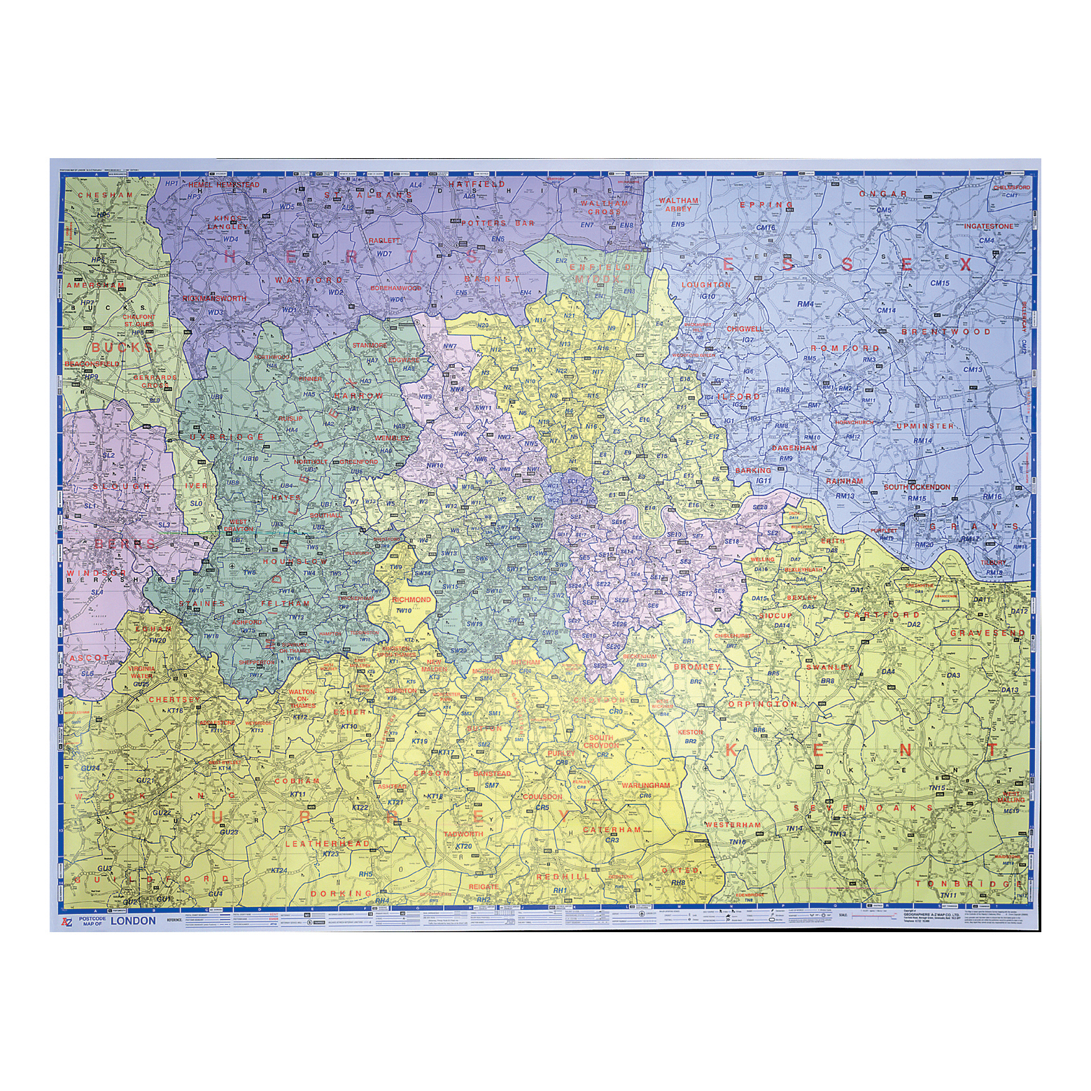 Image for Map Marketing Postal Districts of London Map Unframed 1 Mile to 1 inch Scale W1180xH930mm Ref GLPC