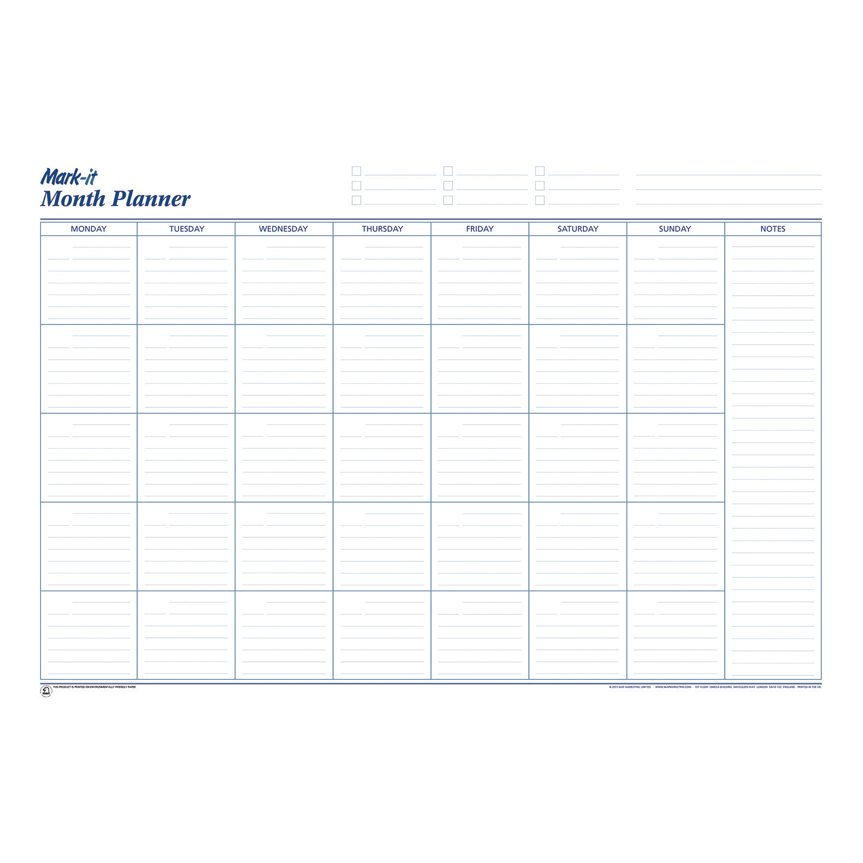 Planners Mark-it Perpetual Month Planner Laminated with Notes Column W900xH600mm Ref MP