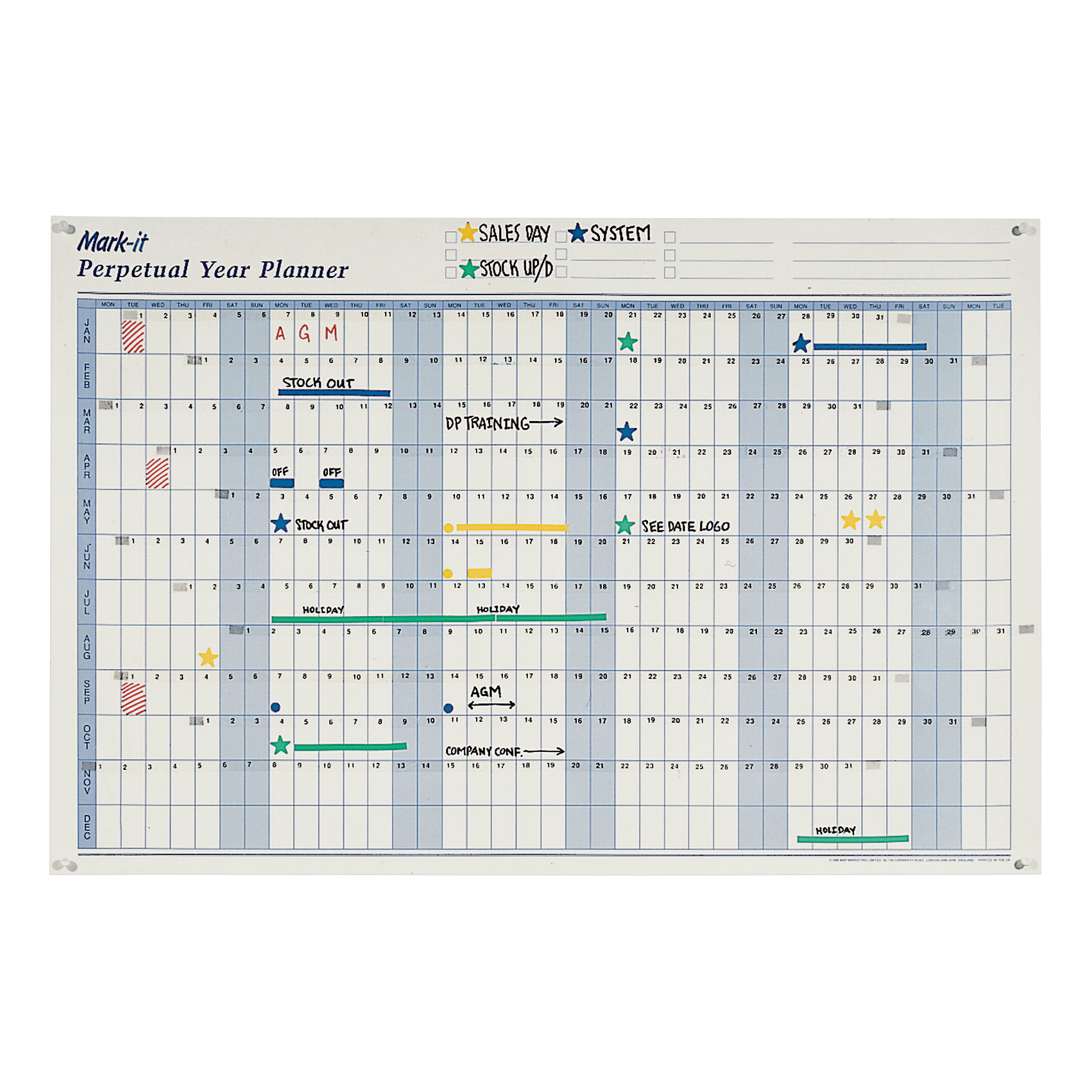 Planners Mark-it Perpetual Year Planner Laminated with Repositionable Date Strips W900xH600mm Ref DPYP