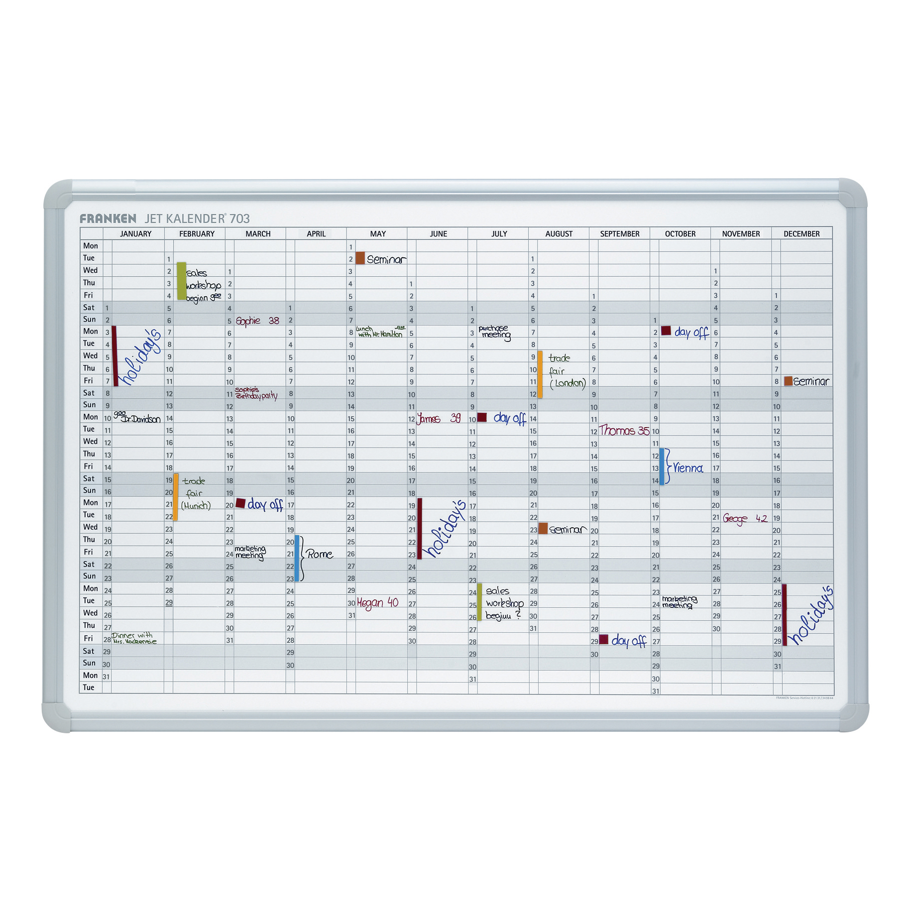 Calendars Franken Perpetual Year Calendar Planner with 2 Markers 3 Magnets Day Grid 57x13mm W900xH600mm Ref JK703GB