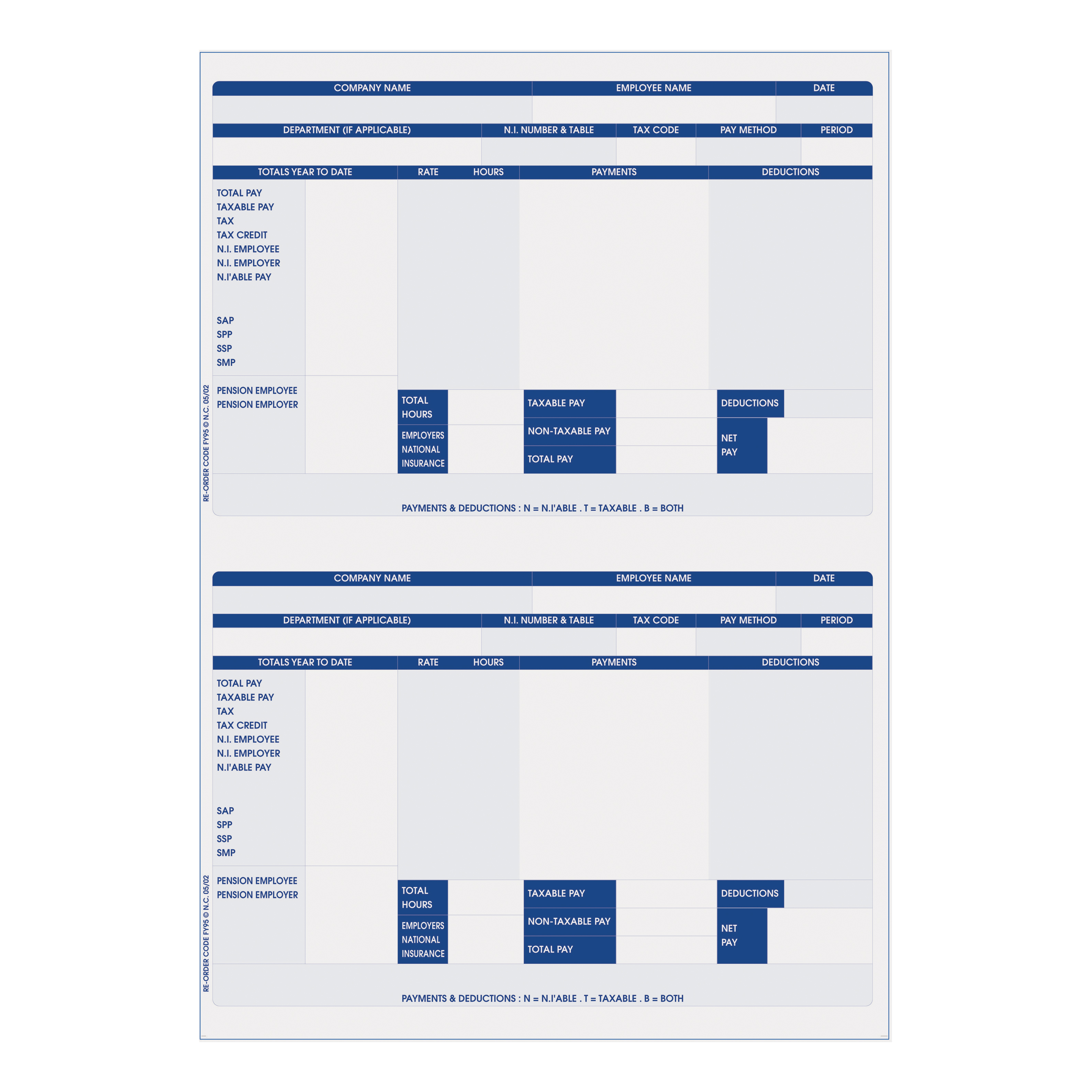 Iris Compatible Payslip 2 Per A4 Sheet Ref FY95 Pack 1000 Payslips
