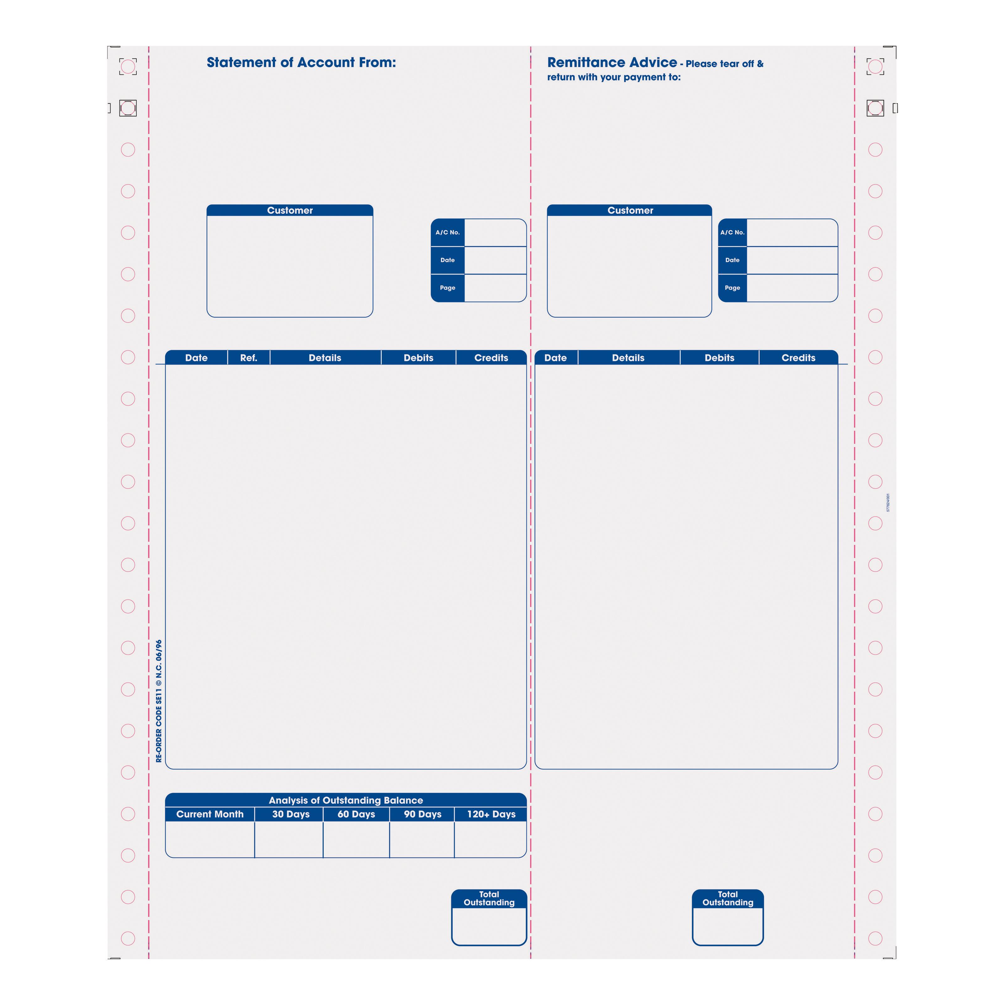 Sage Compatible Statements Tear-off Remittance Portion 1 Part Ref SE11 Pack 1000