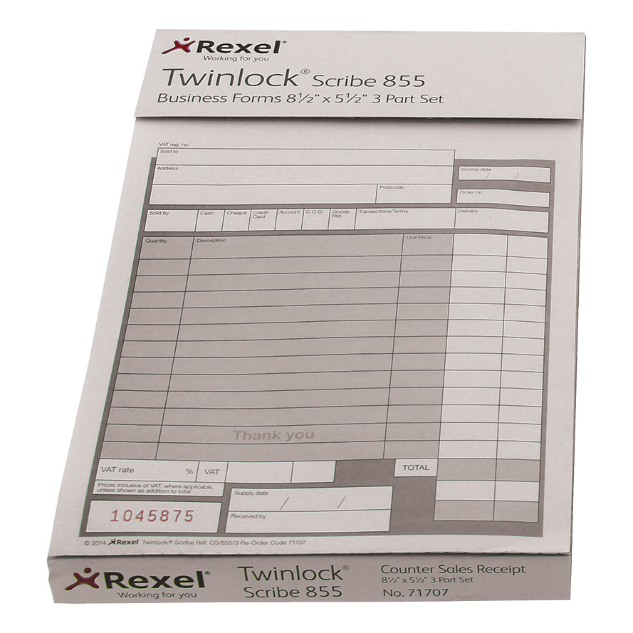 Twinlock Scribe 855 Counter Sales Receipt Business Form 2-Part 220x138mm Ref 71704 Pack 100