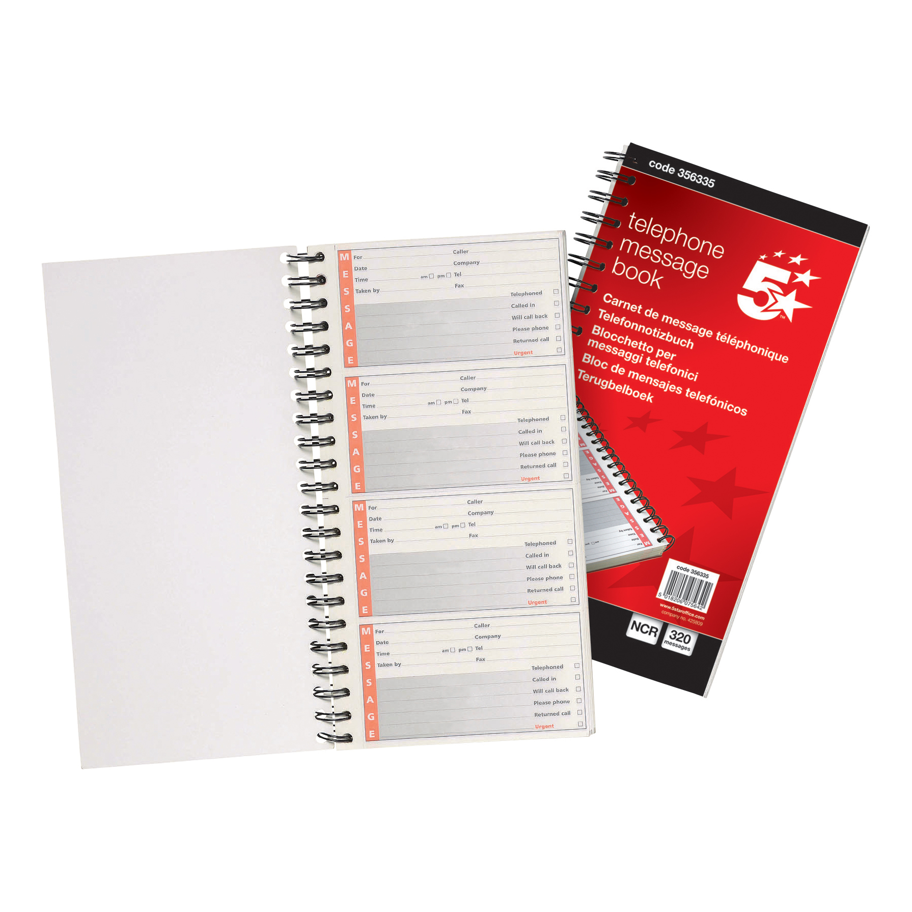 Duplicate 5 Star Office Telephone Message Book Wirebound Carbonless 320 Notes 80 Pages 275x150mm