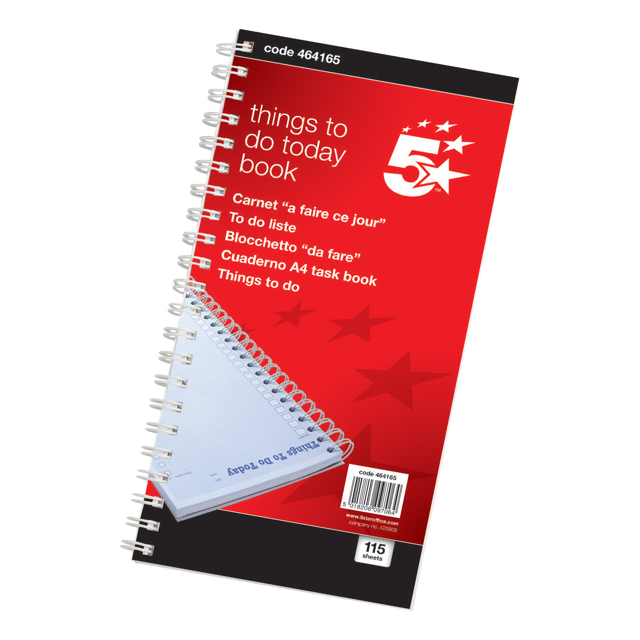 5 Star Office Things To Do Today Book Wirebound 6 Months 115 Pages 275x150mm