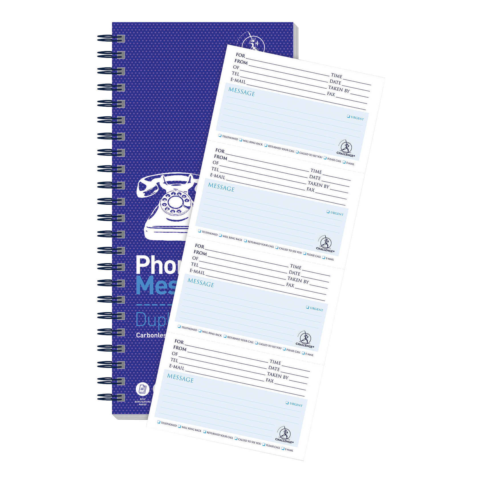 Things To Do Today Challenge Telephone Message Book Wirebound Carbonless 320 Messages 305x141mm Ref 100080054
